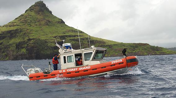 Coast Guard rescue boat heading out for a patrol.