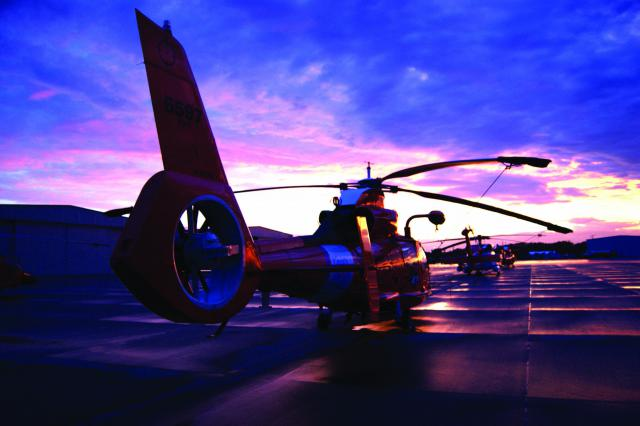 HH-65 helicopters on the tarmac at dawn